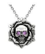 Controse Tattoo Skull Rose Birthstone Choose Color Crystal Eyes Pendant ... - $30.00