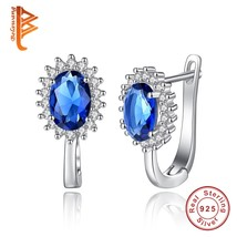 Oval Stone Hoop Earrings Christmas Party New Blue Crystal Earrings For W... - $18.23