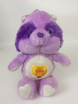 Bright Heart Care Bears Cousin Purple Raccoon Plush Stuffed Vintage 80s ... - $23.71