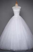Plus Size Scoop Neck Ball Gown Tulle Wedding Dress Beaded - $179.99
