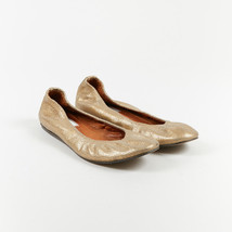 Lanvin Metallic Gold Crinkled Leather Ruched Flats SZ 39 - $140.00
