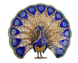 """Vintage Peacock Brooch Pin Vermeil Enamel Filigree Made in Portugal 1.5""""... - $68.31"""