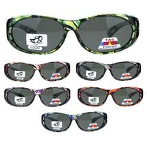 Womens Clear 60mm Geometric Print Fit Over Plastic Oval Sunglasses - £9.84 GBP