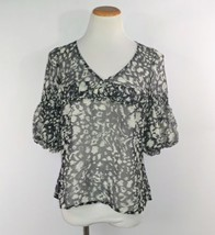 Ann Taylor loft Womans Sheer Blouse Size Small Multi-Color 3/4 Sleeve GUC  - $10.88