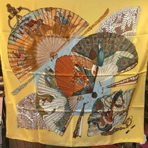 Hermes Carre 90 Scarf Stole BRIDES de CHARME by Julia Abadie Yellow Silk... - $535.08