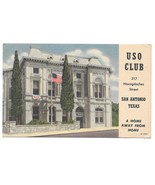 San Antonio TX USO Club Military Army Navy Air Force Soldiers 1957 Postcard - $6.99