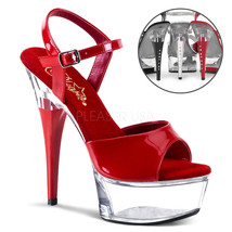 "PLEASER Sexy 6"" Heel Red & Clear Platform Exotic Stripper Heels Shoes CAP609/R/C - $51.95"