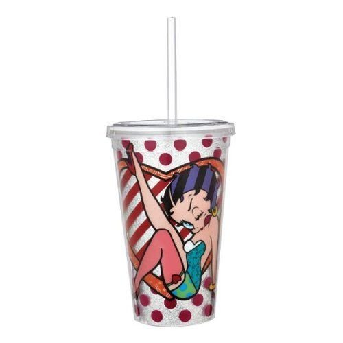 "Enesco Betty Boop by Britto Red with Glitter Tumbler, 9.5"", Multicolor"