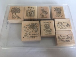 Stampin Up Girl Talk Mounted Stamps Set of 8 For You Thinking of You Car... - $8.10