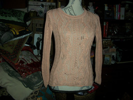 Anthropologie Sparrow Sweet Soft Peach Boatneck Sweater Size S - $12.87