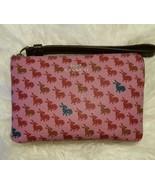 COACH Pink Rabbit Bunny Corner Zip Wristlet Wallet RARE  - $44.99