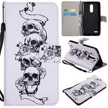 XYX Wallet Phone Case for LG K10 2018,[Skull Head][Wrist Strap][Kickstan... - $4.94