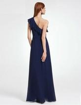 Evening Dress Long Elegant A-line Chiffon Beach Sexy Navy Blue Formal Party Gown - $35.70