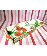 Sweet Vintage MOD Molded Plastic Floating Strawberry Graphic Tray w/ Handles! - £18.60 GBP