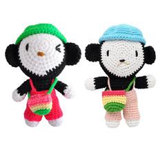 Monkey Handmade Amigurumi Stuffed Toy Knit Crochet Doll VAC - $22.99