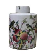Chinese Oriental Scenery Print Graphic Ceramic Container cs2204 - $180.00