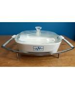 Corning Ware Blue Radio Wave EKG Brown N Sear Dish Pyrex Lid Vintage MCM... - $25.69