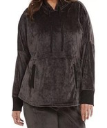 Donna Karan Sleepwear CHARCOAL GRAY VELOUR Hoodie Pajama Top Size Small. - $21.34