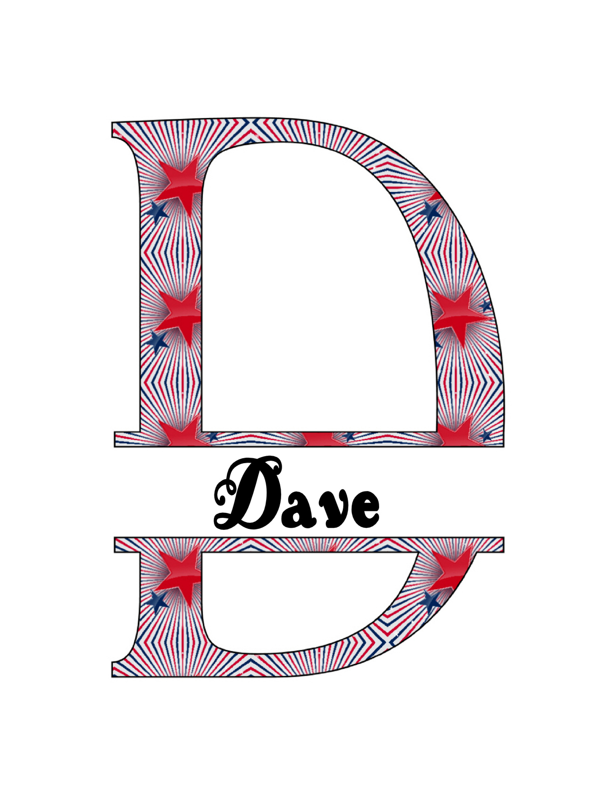26 Names 2A Split Letter Monogram-Digital ClipArt-JPG-Stars-The 4th of July