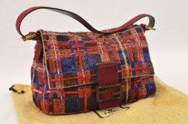 FENDI Beads Embroidered Mamma Baguette Hand Bag Red Auth ar1035 - $1,680.00