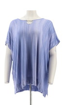 Lisa Rinna Collection Flattering Printed Top Neckline Periwinkle PL NEW ... - $17.79