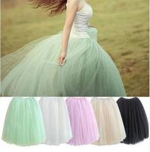 Womens Lace Adult Tutu Skirt 5 Layers Voile Tulle Skirt Bouffant Long Puffy Skir