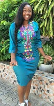 Odeneho Wear Polished Cotton Dress/Multi-Color  Embroidery.African Clothing. - $85.00