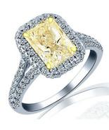 1.61 Carat Yellow Radiant Diamond Engagement Ring 18k White Gold Split S... - $3,260.37