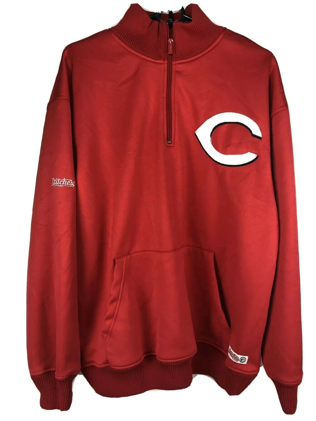 Primary image for Men's Cincinnati Reds MLB Red Quarter Zip Fleece Sweatshirt Size L Stitches
