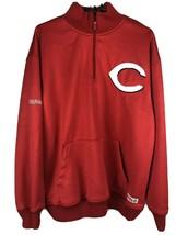 Men's Cincinnati Reds MLB Red Quarter Zip Fleece Sweatshirt Size L Stitches - $15.22