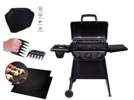 Iron Steel Gas Grill Outdoor 4-Burner Propane Mat Cover Claws Patio BBQ Set - $266.95