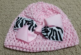 Baby Girl Infant Newborn Hat Pink Bow Black Zebra Stripe NWT - $4.99