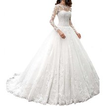 Women's A line Princrss Long Sleeve Wedding Dresses Lace Bridal Gown Cheap - $199.00