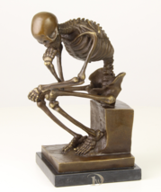 Antique Home Decor Bronze Sculpture shows Skeleton, signed * Free Air Sh... - $289.00