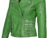 Handmade Women Trendy Green Studded Leather Formal Fashion Strap Jacket