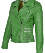 Handmade Women Trendy Green Studded Leather Formal Fashion Strap Jacket - $155.99+