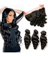 Lace Frontal Loose Wave Brazilian Hair 3 Bundles Ear To Ear Closure 13x4... - $77.02
