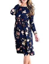 EMVANV Midi Floral Dress, Classic A Line Loose Dresses for Women,Navy Bl... - $24.95