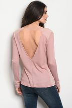 Ladies fashion long sleeve relaxed fit thermal top that features a v neckline image 4