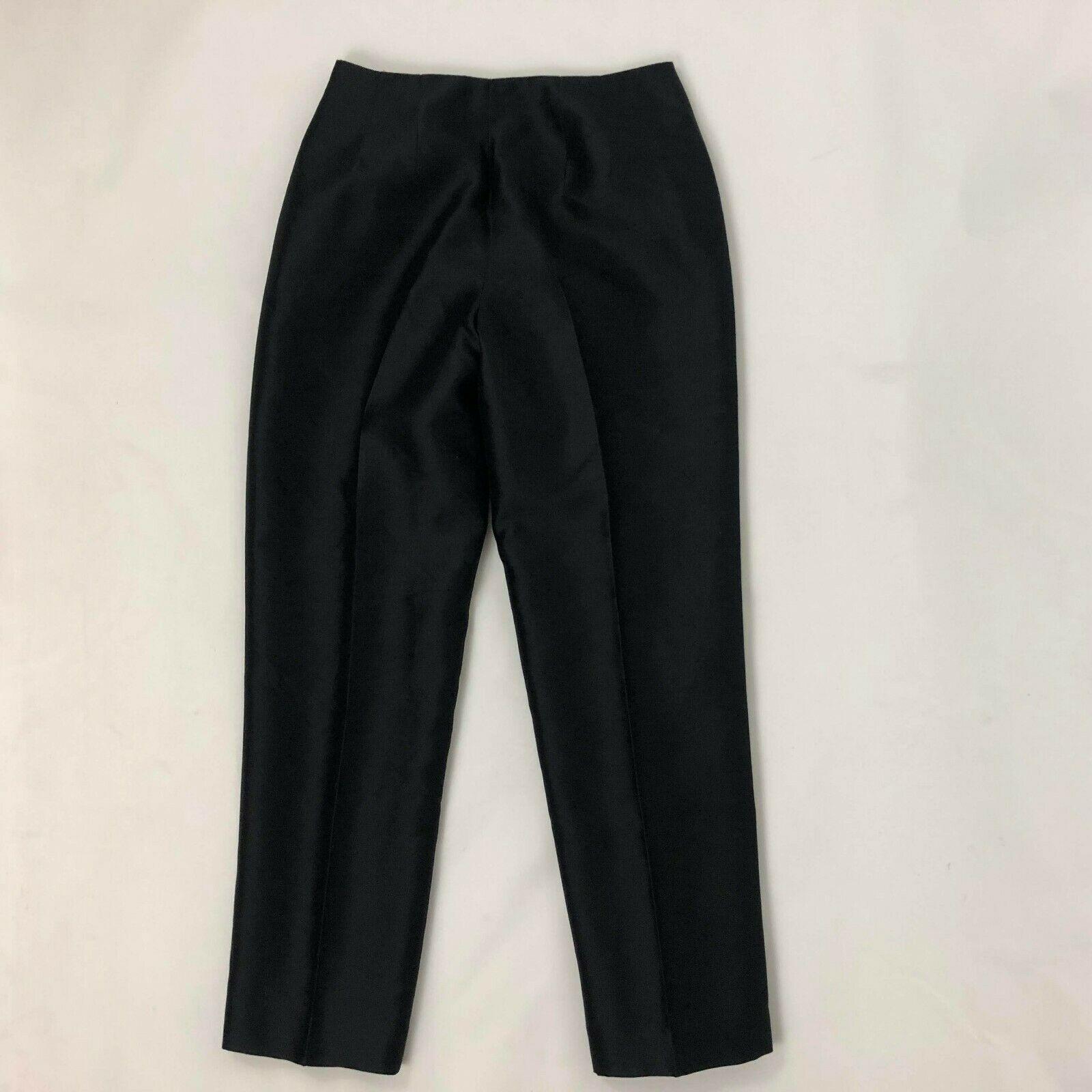 Talbots Sz 6 6P Petite Black Pure Silk Slacks Dress Pants Trousers Women's