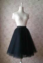 Black Tulle Midi Skirt Women A-line Black Midi Skirt Knee Length Black Skirts image 3