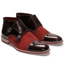 New Handmade Pure Red Suede & Dark Brown Leather Ankle Buckle Boots for ... - $120.00