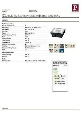Paulmann 937.74 empotrable para Suelo, Solar, 0.24W LED, Acero Inoxidable, IP67 image 3