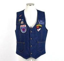 Vintage 90s Biker Jean Jacket Vest Harley Pin Patch Retro Sleeveless Men... - $24.74