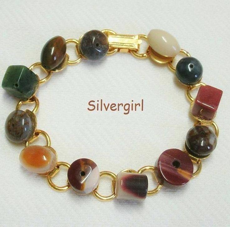 Gold plate polished mixed gemstone bracelet
