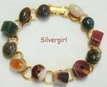 Gold plate polished mixed gemstone bracelet thumb155 crop