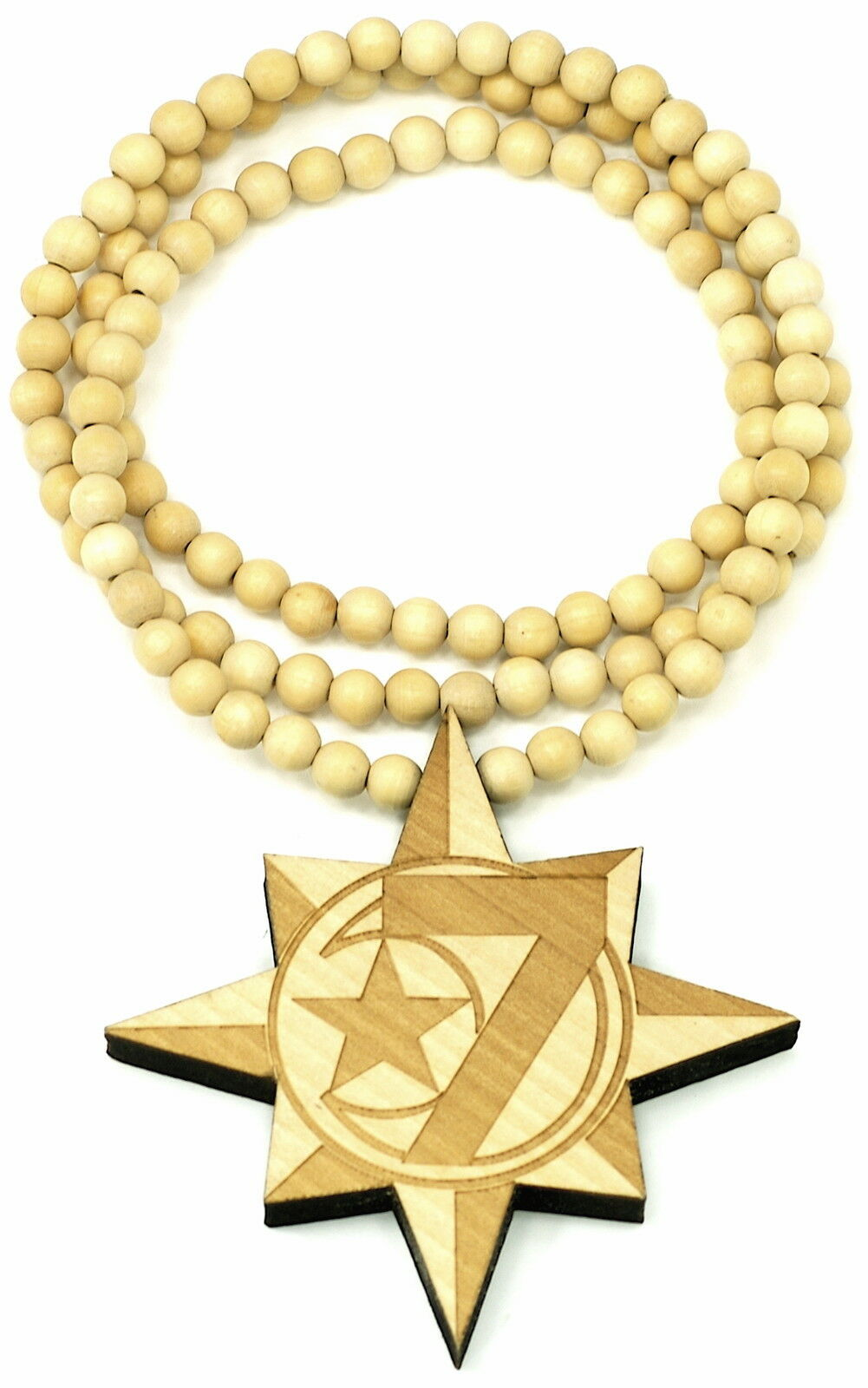 Primary image for 5 Percenter 7 Star New Good Wood Style Pendant with Beaded Chain