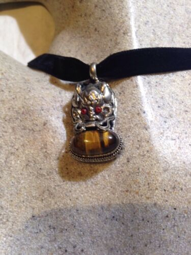 Vintage Silver Bronze Genuine Tibet Tiger's Eye Dragon Pendant Necklace Choker