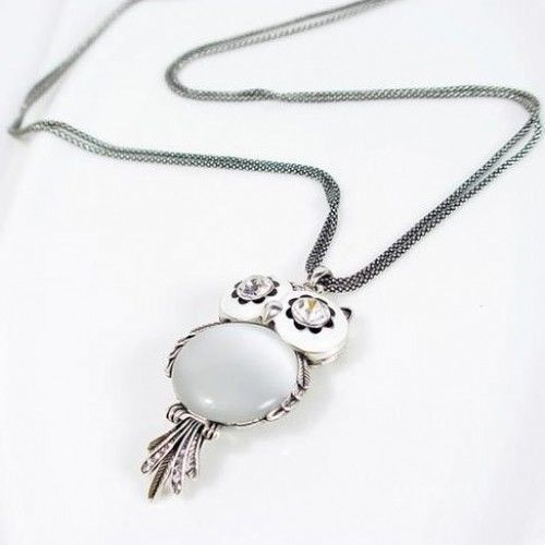 Chaomingzhen Austrian Crystal Vintage Owl Pendant Long Necklace for Women image 2