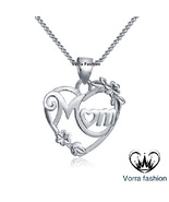 """14k White Gold Plated Sterling Silver Double Heart Mom Pendant With 18'""""... - £27.49 GBP"""